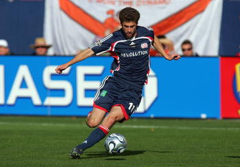 FRISCO, TX - NOVEMBER 13:  Pat Noonan #11 of the New England Revolution chips a pass to the middle against the Los Angeles Galaxy in the first half during MLS Cup 2005 at Pizza Hut Park on November 13, 2005 in Frisco, Texas.  The Galaxy defeated the Revol