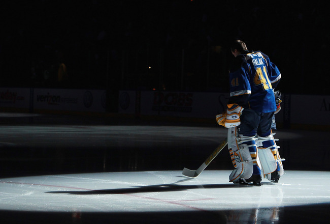 ST LOUIS, MO - DECEMBER 09:  Jaroslav Halak #41 of the St. Louis Blues stands at attention during the national anthem prior to the game against the Columbus Blue Jackets at the Scottrade Center on December 9, 2010 in St Louis, Missouri.  (Photo by Bruce B