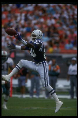 9 Oct 1988:  Wide receiver Bill Brooks of the Indianapolis Colts (center) goes up for the ball during a game against the Buffalo Bills at Rich Stadium in Orchard Park, New York.  The Bills won the game, 34-23. Mandatory Credit: Rick Stewart  /Allsport