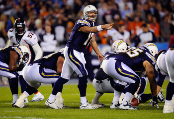 SAN DIEGO - NOVEMBER 22:  Quarterback Philip Rivers #17 of the San Diego Chargers in action  against Denver Broncos at Qualcomm Stadium on November 22, 2010 in San Diego, California. (Photo by Kevork Djansezian/Getty Images)