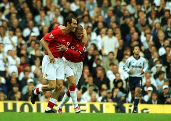 29 Sep 2001:  Laurent Blanc of Manchester United celebrates scoring the 2nd goal during the FA Barclaycard Premiership match between Tottenham Hotspur and Manchester United at White Hart Lane, London.  Mandatory Credit: Ben Radford/ALLSPORT