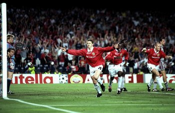 26 May 1999:  Ole Gunnar Solskjaer of Manchester United celebrates his late winner during the UEFA Champions League Final against Bayern Munich at the Nou Camp in Barcelona, Spain. United scored twice in injury time to win 2-1. \ Mandatory Credit: Ben Rad