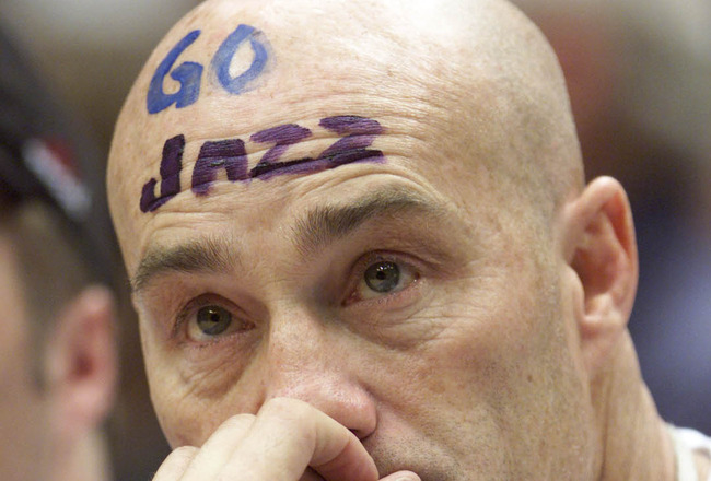 21 Apr 2001:  A Utah Jazz fan looks on during game one of the NBA playoffs against the Dallas Mavericks at the Delta Center in Salt Lake City, Utah.  The Jazz won 88-86.  DIGITAL IMAGE.  Mandatory Credit: Brian Bahr/Allsport