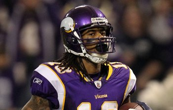 MINNEAPOLIS - JANUARY 17:  Wide receiver Sidney Rice #18 of the Minnesota Vikings looks on after scoring a touchdown against the Dallas Cowboys during the NFC Divisional Playoff Game at Hubert H. Humphrey Metrodome on January 17, 2010 in Minneapolis, Minn