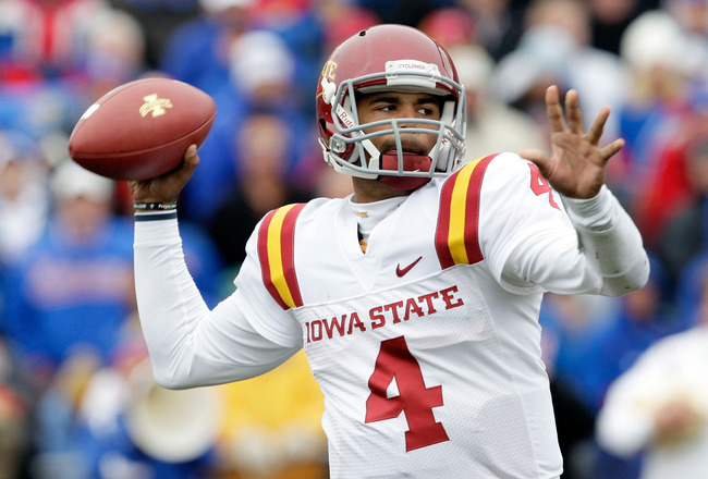 LAWRENCE, KS - OCTOBER 10:  Quarterback Austen Arnaud #4 of the Iowa State Cyclones passes during the game against the Kansas Jayhawks on October 10, 2009 at Memorial Stadium in Lawrence, Kansas.  (Photo by Jamie Squire/Getty Images)