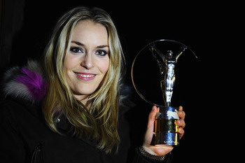 GARMISCH, GERMANY - FEBRUARY 07:  Skier Lindsey Vonn of the United States poses with her award for the 'Laureus World Sportswoman of the Year' during the 2011 Laureus World Sports Awards on February 7, 2011 near Garmischi, Germany.  (Photo by Clive Mason/