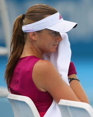 SYDNEY, AUSTRALIA - JANUARY 10:  Daniela Hantuchova of Slovakia wipes away sweat in her match against Maria Jose Martinez Sanchez of Spain during day two of the 2011 Medibank International at Sydney Olympic Park Tennis Centre on January 10, 2011 in Sydney