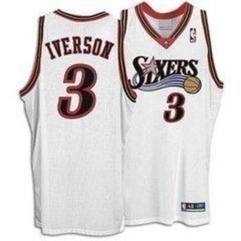 3c8faaab34e ... Philadelphia 76ers 3 Allen Iverson White 1996 10th Anniversary Throwback  Jersey allen iverson xl jersey ...