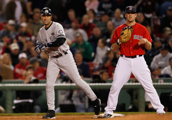 Boston Red Sox firstbaseman Lars Anderson hold New York Yankees Derek Jeter at first base.