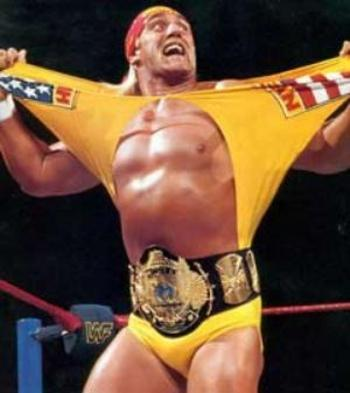 Hulk Hogan ripping his shirt
