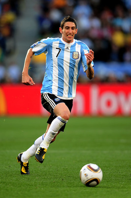 CAPE TOWN, SOUTH AFRICA - JULY 03:  Angel Di Maria of Argentina in action during the 2010 FIFA World Cup South Africa Quarter Final match between Argentina and Germany at Green Point Stadium on July 3, 2010 in Cape Town, South Africa.  (Photo by Clive Mas