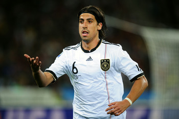 DURBAN, SOUTH AFRICA - JULY 07:  Sami Khedira of Germany reacts during the 2010 FIFA World Cup South Africa Semi Final match between Germany and Spain at Durban Stadium on July 7, 2010 in Durban, South Africa.  (Photo by Clive Mason/Getty Images)