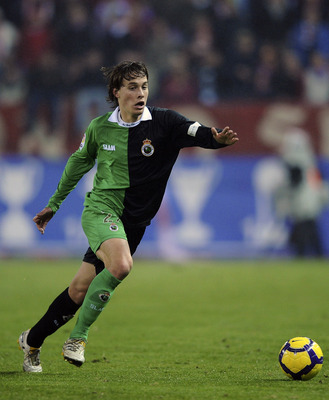 MADRID, SPAIN - FEBRUARY 04:  Sergio Canales of Racing Santander in action during the Copa del Rey semi-final, first leg match between Atletico Madrid and Racing Santander at the Vicente Calderon Stadium on February 4, 2010 in Madrid, Spain.  (Photo by De