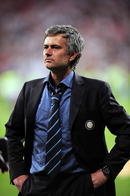 MADRID, SPAIN - MAY 22:  Head coach Jose Mourinho of Inter Milan reacts after their team's victory at the end of the UEFA Champions League Final match between FC Bayern Muenchen and Inter Milan at the Estadio Santiago Bernabeu on May 22, 2010 in Madrid, S