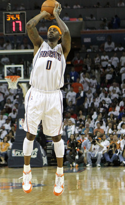 CHARLOTTE, NC - APRIL 24:  Guard Larry Hughes #0 of the Charlotte Bobcats shoots a three point shot in the game against the Orlando Magic during Game Three of the Eastern Conference Quarterfinals during the 2010 NBA Playoffs at Time Warner Cable Arena on