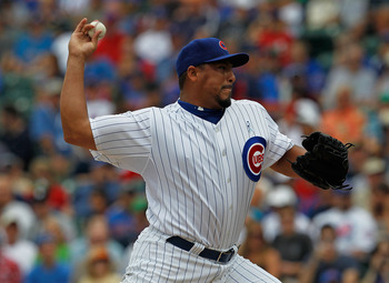 CHICAGO - JUNE 20: Starting pitcher Carlos Zambrano #38 of the Chicago Cubs delivers the ball against the Los Angeles Angels of Anaheim at Wrigley Field on June 20, 2010 in Chicago, Illinois. (Photo by Jonathan Daniel/Getty Images)