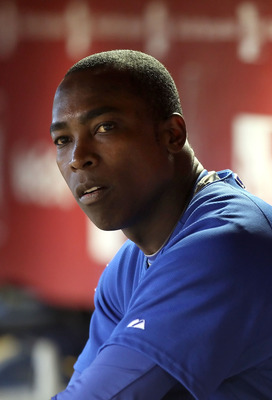 PHOENIX - JULY 05:  Alfonso Soriano #12 of the Chicago Cubs sits in the dugout during the Major League Baseball game against the Arizona Diamondbacks at Chase Field on July 5, 2010 in Phoenix, Arizona. The Cubs defeated the Diamondbacks 9-4.  (Photo by Ch