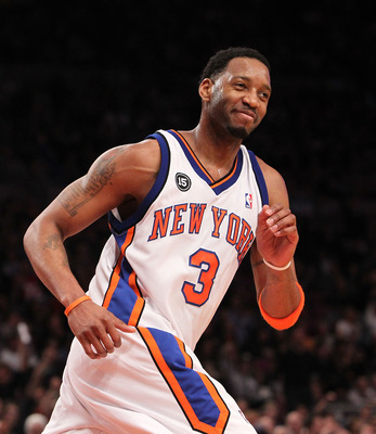 NEW YORK - FEBRUARY 20:  Tracy McGrady #3 of the New York Knicks smiles after making a basket against the Oklahoma City Thunder at Madison Square Garden on February 20, 2010 in New York, New York. NOTE TO USER: User expressly acknowledges and agrees that,