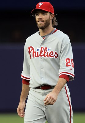 NEW YORK - JUNE 17:  Jayson Werth #28 of the Philadelphia Phillies looks on prior to playing against the New York Yankees on June 17, 2010 at Yankee Stadium in the Bronx borough of New York City.  (Photo by Jim McIsaac/Getty Images)