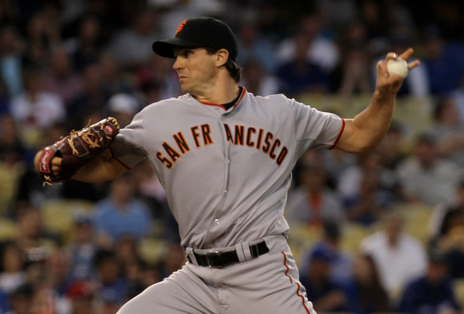 LOS ANGELES, CA - JULY 21:  Barry Zito #75 of the San Francisco Giants throws a pitch against the Los Angeles Dodgers on July 21, 2010 at Dodger Stadium in Los Angeles, California.  (Photo by Stephen Dunn/Getty Images)
