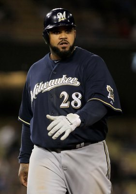 LOS ANGELES, CA - MAY 06:  Prince Fielder #28 of the Milwaukee Brewers plays against the Los Angeles Dodgers at Dodger Stadium on May 6, 2010 in Los Angeles, California.  (Photo by Jeff Gross/Getty Images)