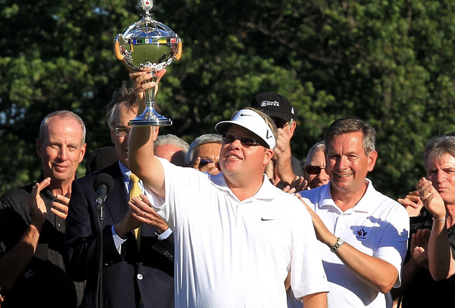 ETOBICOKE, ON - JULY 25:  Carl Pettersson holds aloft the trophy after winning the 2010 RBC Canadian Open at St. George's Golf and Country Club on July 25, 2010 in Etobicoke, Canada.  (Photo by Chris McGrath/Getty Images)