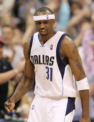 DALLAS - APRIL 21:  Guard Jason Terry #31 of the Dallas Mavericks reacts after scoring a three point shot against the San Antonio Spurs in Game Two of the Western Conference Quarterfinals during the 2010 NBA Playoffs at American Airlines Center on April 2