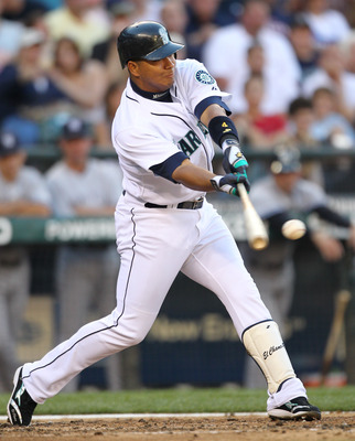 SEATTLE - JULY 10:  Jose Lopez #4 of the Seattle Mariners bats against the New York Yankees at Safeco Field on July 10, 2010 in Seattle, Washington. (Photo by Otto Greule Jr/Getty Images)