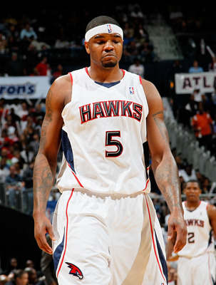 ATLANTA - MAY 10:  Josh Smith #5 of the Atlanta Hawks reacts during Game Four of the Eastern Conference Semifinals of the 2010 NBA Playoffs against the Orlando Magic at Philips Arena on May 10, 2010 in Atlanta, Georgia.  NOTE TO USER: User expressly ackno