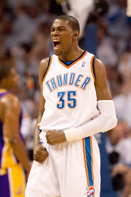 OKLAHOMA CITY - APRIL 24: Kevin Durant #35 of the Oklahoma City Thunder celebrates a foul called against the Los Angeles Lakers during Game Four of the Western Conference Quarterfinals of the 2010 NBA Playoffs on April 24, 2010 at the Ford Center in Oklah
