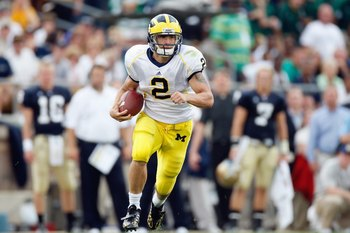 SOUTH BEND,IN - SEPTEMBER 13: Sam McGuffie #2 of the Michigan Wolverines carries the ball during the game against the Notre Dame Fighting Irish on September 13, 2008 at Notre Dame Stadium in South Bend, Indiana. (Photo by: Gregory Shamus/Getty Images)
