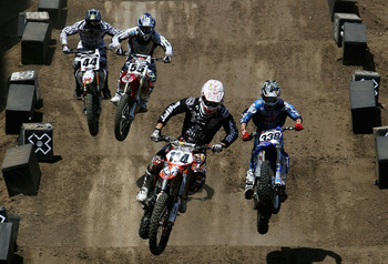 CARSON, CA - AUGUST 02:  (L-R) Troy Adams, Antonio Balbi of Brazil, Justin Brayton and Jason Lawrence compete in the men's Moto X Racing final during the summer X Games 14 at Home Depot Center on August 2, 2008 in Carson, California.  (Photo by Christian