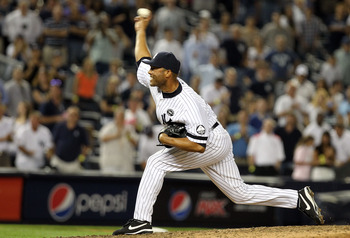 Mariano Rivera pitching on August 18, 2010. Rivera pitched a scoreless inning of relief but entered the game in a non-save situation.
