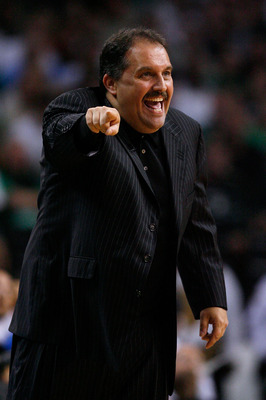 BOSTON - MAY 24:  Head coach Stan Van Gundy of the Orlando Magic reacts as he coaches against the Boston Celtics in Game Four of the Eastern Conference Finals during the 2010 NBA Playoffs at TD Banknorth Garden on May 24, 2010 in Boston, Massachusetts.  N