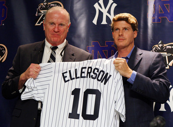 NEW YORK - JULY 20:  Army head coach Rich Ellerson and New York Yankees Managing General Partner Hal Steinbrenner pose for a photograph during a press conference announcing that Yankee Stadium will play host to the 2010 Notre Dame v Army college football