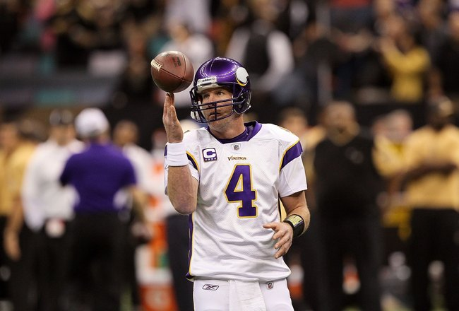 NEW ORLEANS - JANUARY 24:  Brett Favre #4 of the Minnesota Vikings warms up against the New Orleans Saints during the NFC Championship Game at the Louisiana Superdome on January 24, 2010 in New Orleans, Louisiana. The Saints won 31-28 in overtime.  (Photo