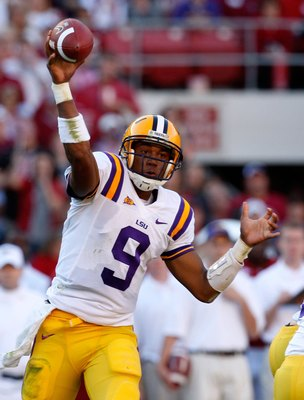 TUSCALOOSA, AL - NOVEMBER 07:  Jordan Jefferson #9 of the Louisiana State University Tigers against the Alabama Crimson Tide at Bryant-Denny Stadium on November 7, 2009 in Tuscaloosa, Alabama.  (Photo by Kevin C. Cox/Getty Images)