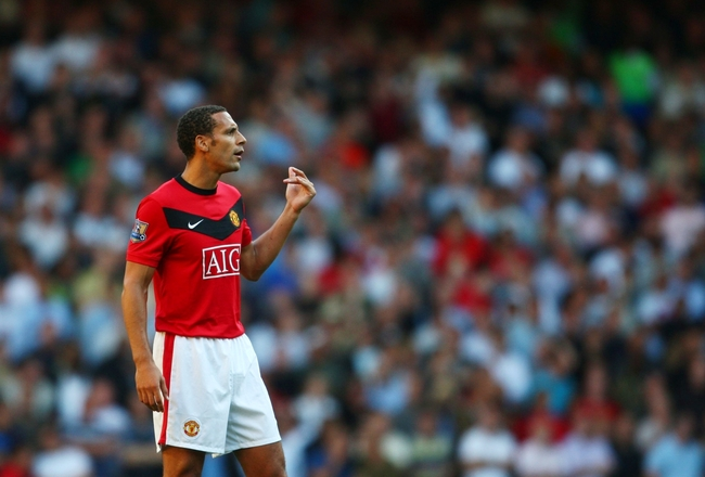 LONDON, ENGLAND - SEPTEMBER 12:   Rio Ferdinand of Manchester United looks on during the Barclays Premier League match between Tottenham Hotspur and Manchester United at White Hart Lane on September 12, 2009 in London, England. (Photo by Jamie McDonald/Ge