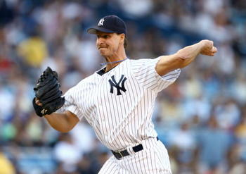 NEW YORK - JULY 14: Randy Johnson #41 of the New York Yankees pitches during the game with  the Chicago White Sox on July 14, 2006 at Yankee Stadium in the Bronx borough of New York City.  The Yankees won 6-5. (Photo by Al Bello/Getty Images)
