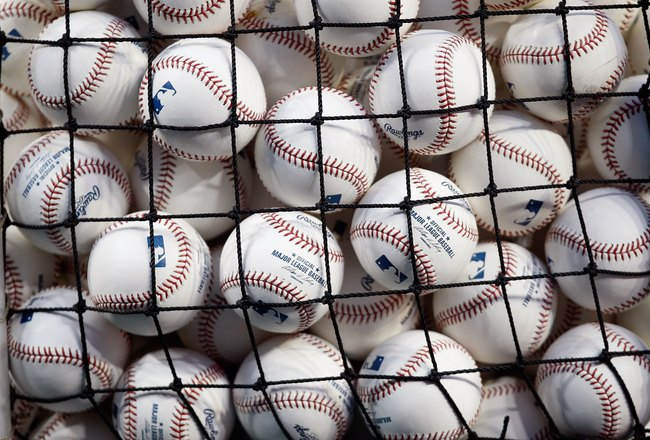 NEW YORK - OCTOBER 28:  A detail of baseballs is seen through netting of a basket during Game One of the 2009 MLB World Series between the New York Yankees and the Philadelphia Phillies at Yankee Stadium on October 28, 2009 in the Bronx borough of New Yor