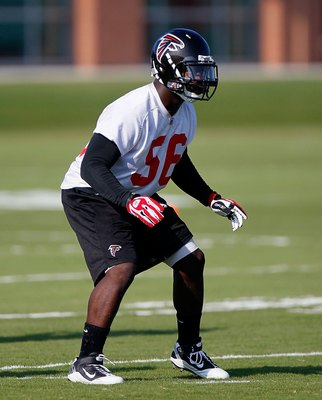 FLOWERY BRANCH, GA - JULY 30:  Sean Weatherspoon #56 of the Atlanta Falcons runs drills during opening day of training camp on July 30, 2010 at the Falcons Training Complex in Flowery Branch, Georgia.  (Photo by Kevin C. Cox/Getty Images)