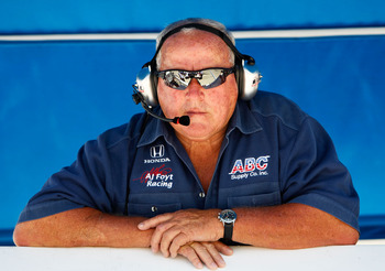 FORT WORTH, TX - JUNE 04:  Team owner A.J. Foyt watches during practice for the IZOD IndyCar Series Firestone 550k at Texas Motor Speedway June 4, 2010 in Fort Worth, Texas.  (Photo by Jonathan Ferrey/Getty Images)