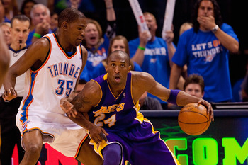 OKLAHOMA CITY - APRIL 30: Kobe Bryant #24 of the Los Angeles Lakers looks to get past Kevin Durant #35 of the Oklahoma City Thunder during Game Six of the Western Conference Quarterfinals of the 2010 NBA Playoffs on April 30, 2010 at the Ford Center in Ok