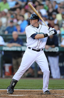 SEATTLE - JULY 10:  Justin Smoak #17 of the Seattle Mariners takes his first at-bat as a Mariner against the New York Yankees at Safeco Field on July 10, 2010 in Seattle, Washington. (Photo by Otto Greule Jr/Getty Images)