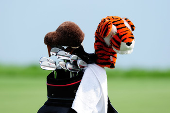 KOHLER, WI - AUGUST 10:  The bag and clubs of Tiger Woods is seen during a practice round prior to the start of the 92nd PGA Championship on the Straits Course at Whistling Straits on August 10, 2010 in Kohler, Wisconsin.  (Photo by Stuart Franklin/Getty