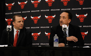 DEERFIELD, IL - JUNE 23: General Manager Gar Forman of the Chicago Bulls (L) announces that Tom Thibodeau, formally an assistant coach with the Boston Celtics, will become the new head coach of the Bulls during a press conference at the Berto Center pract