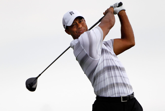 KOHLER, WI - AUGUST 11:  Tiger Woods plays a shot during a practice round prior to the start of the 92nd PGA Championship on the Straits Course at Whistling Straits on August 11, 2010 in Kohler, Wisconsin.  (Photo by Sam Greenwood/Getty Images)