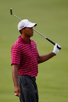 KOHLER, WI - AUGUST 10:  Tiger Woods looks on during a practice round prior to the start of the 92nd PGA Championship on the Straits Course at Whistling Straits on August 10, 2010 in Kohler, Wisconsin.  (Photo by Chris Graythen/Getty Images)