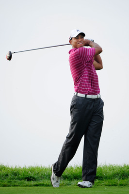 KOHLER, WI - AUGUST 10:  Tiger Woods hits a shot during a practice round prior to the start of the 92nd PGA Championship on the Straits Course at Whistling Straits on August 10, 2010 in Kohler, Wisconsin.  (Photo by Stuart Franklin/Getty Images)