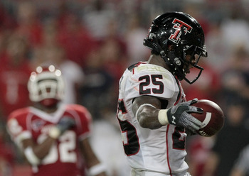 HOUSTON - SEPTEMBER 26:  Running back Baron Batch #25 of the Texas Tech Red Raiders scores a touchdown against the Houston Cougars at Robertson Stadium on September 26, 2009 in Houston, Texas.  (Photo by Thomas B. Shea/Getty Images)